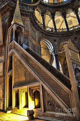 Pulpit In The Aya Sofia Museum In Istanbul  Poster by David Smith