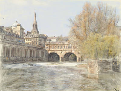 Pulteney Bridge Bath Poster by Ron Harpham