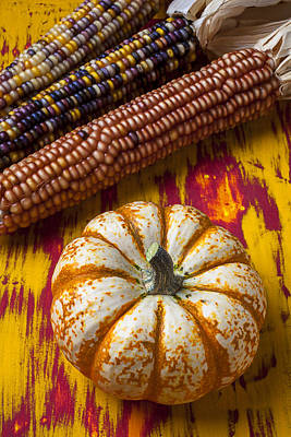 Pumpkin And Indian Corn Poster