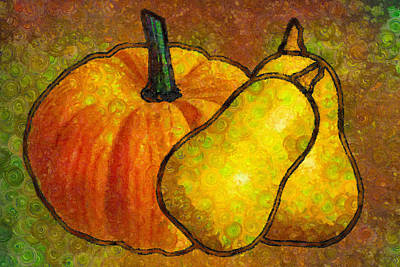 Pumpkin Art Abstract Realism Poster by Georgiana Romanovna