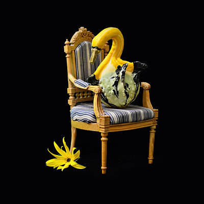 Pumpkin King On The Chair With Flower Poster by Gynt