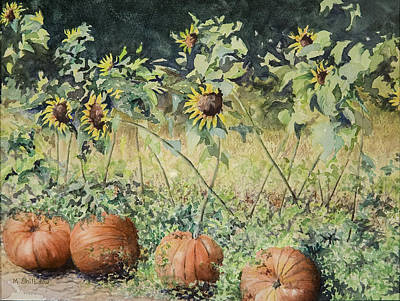 Pumpkins And Sunflowers Poster by Martha Shilliday