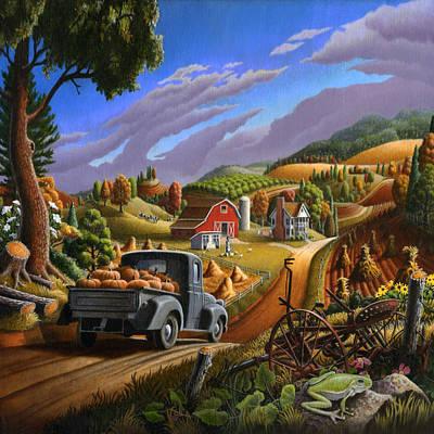 Pumpkins Farm Folk Art Fall Landscape - Square Format Poster