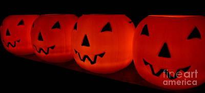 Pumpkins Lined Up Poster by Kerri Mortenson