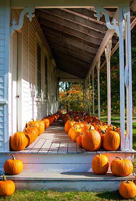 Pumpkins On A Porch Poster by Karen Stephenson
