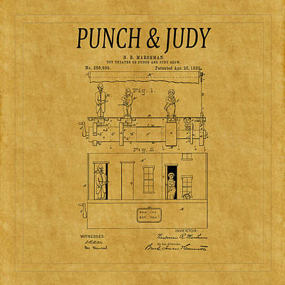 Punch And Judy Show Patent 1 Poster by Andrew Fare