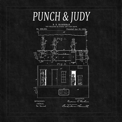 Punch And Judy Show Patent 2 Poster by Andrew Fare