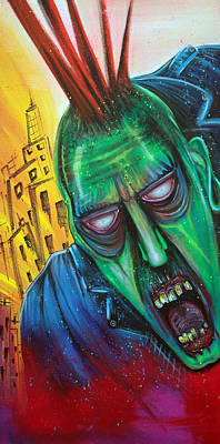 Punk Rock Zombie Poster by Laura Barbosa