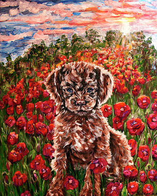 Puppy And Poppies Poster