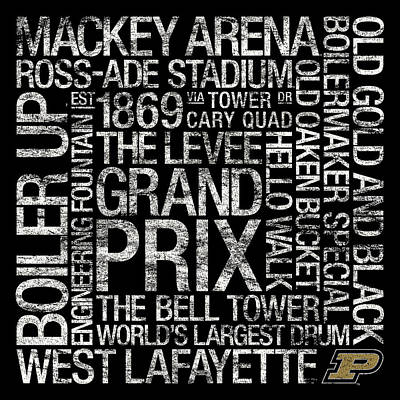 Purdue College Colors Subway Art Poster
