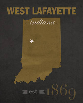 Purdue University Boilermakers West Lafayette Indiana College Town State Map Poster Series No 090 Poster by Design Turnpike