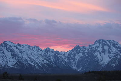Pure Bliss The Tetons At Sunset Poster by Shawn Hughes