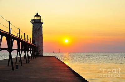 Pure Michigan Lighthouse Poster by Terri Gostola