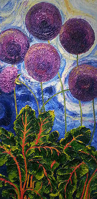 Purple Alliums And Swiss Chard Poster by Paris Wyatt Llanso