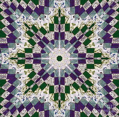 Purple And Green Patchwork Art Poster