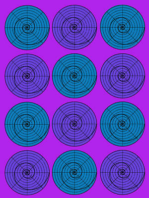 Purple Aqua Orb Circle Bubble Pop A La After Warhol Poster