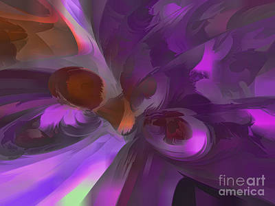 Purple Butterfly Pastel Abstract Poster by Alexander Butler