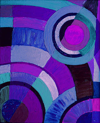 Purple Circle Abstract Painting Poster