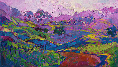 Poster featuring the painting Purple Dawn by Erin Hanson