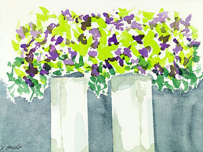 Poster featuring the painting Purple Flowers Abstract by Frank Bright