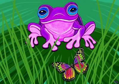 Purple Frog And Rainbow Butterfly Poster by Nick Gustafson