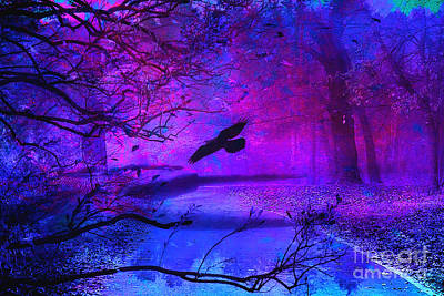 Purple Gothic Haunting Nature - Surreal Fantasy Gothic Raven Forest Woodlands Poster by Kathy Fornal