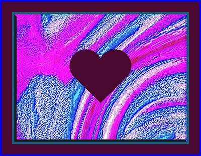 Purple Heart Twirl Triple Border Valentine Large Signature Poster by L Brown