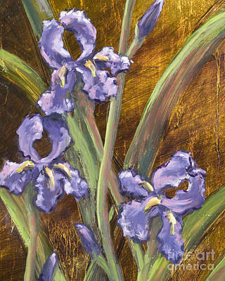 Purple Iris II With Gold Leaf Poster