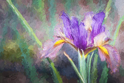 Poster featuring the painting Purple Iris In The Early Spring by Ike Krieger