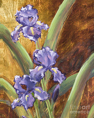 Purple Iris With Gold Leaf By Vic Mastis Poster