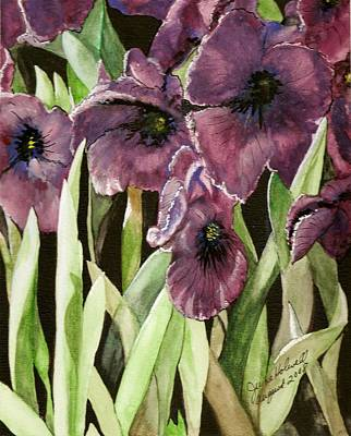 Purple Irises Poster by June Holwell
