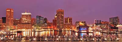 Purple Night In Baltimore Poster by Wayne King