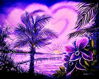 Purple Palm Poster by Yolanda Rodriguez