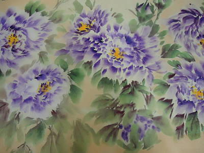 Purple Peony 012 Poster by Dongling Sun