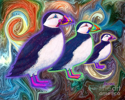 Poster featuring the mixed media Purple Puffins by Teresa Ascone