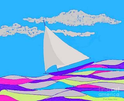 Purple Sailboat Poster