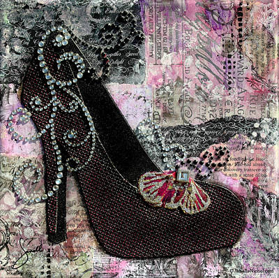 Purple Shoes With Butterfly On Pink Purple Abstract Background Poster by Janelle Nichol
