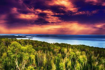 Purple Sunset Approach Poster by Bill Tiepelman