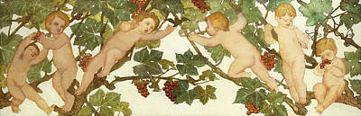 Putti Frolicking In A Vineyard Poster by Phoebe Anna Traquair