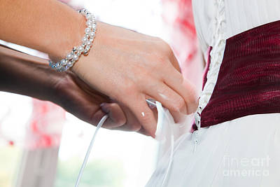 Putting On A Wedding Dress Poster by Michal Bednarek