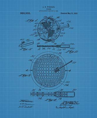 Puzzle Blueprint Patent Poster by Dan Sproul