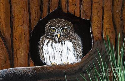 Poster featuring the painting Pygmy Owl by Jennifer Lake