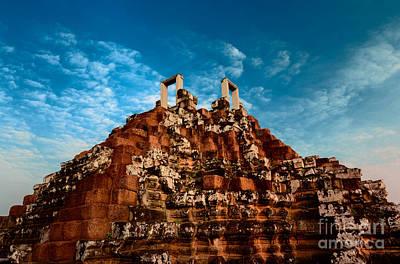 Pyramid At Angkor Thom Poster by Julian Cook