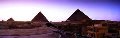 Pyramids At Sunset, Giza, Egypt Poster