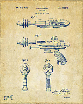 Pyrotomic Disintegrator Pistol Patent Vintage Poster by Nikki Marie Smith