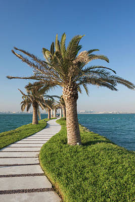 Qatar, Doha, West Bay Walkway With Palms Poster