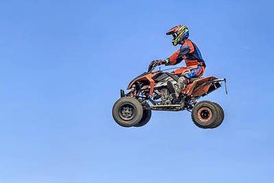 Quad Flying Through The Air Poster by Geraldine Scull
