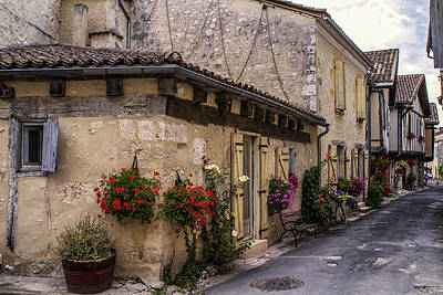 Quaint French Street In Issigeac Poster by Georgia Fowler