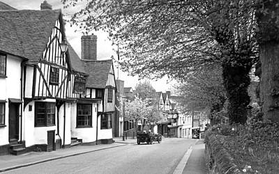 Quaint Old High Street - Bishop's Stortford In Black And White Poster by Gill Billington