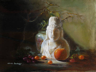 Quan Yin With Cumquats Poster by Alma Dankoff